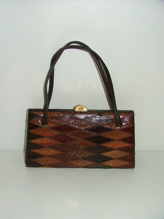 Vintage Elbief real snakeskin leather kelly bag grab handbag diamond patchwork pattern