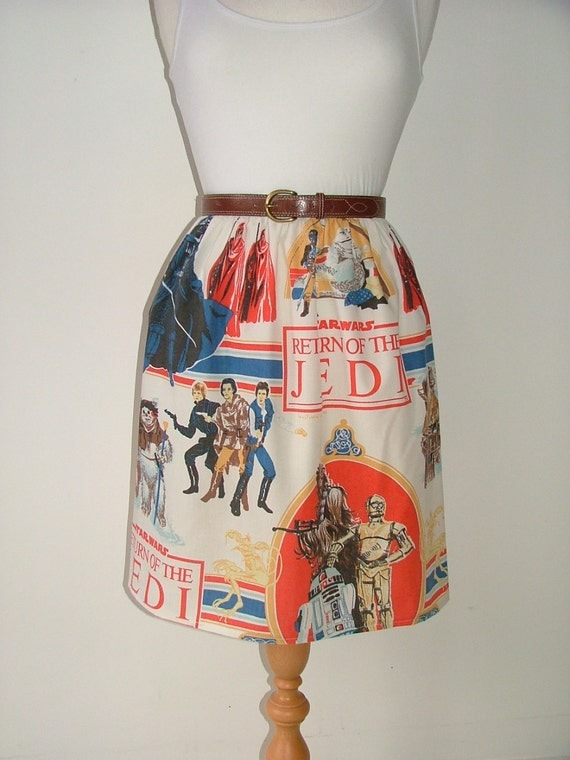 Handmade high waisted skirt made with vintage starwars fabric