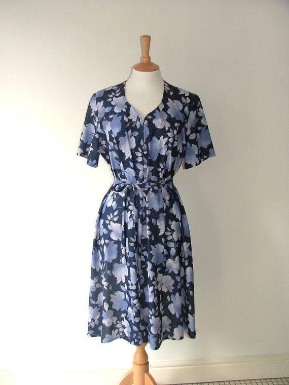 Vintage floral flower pattern blue button down bow dress size medium