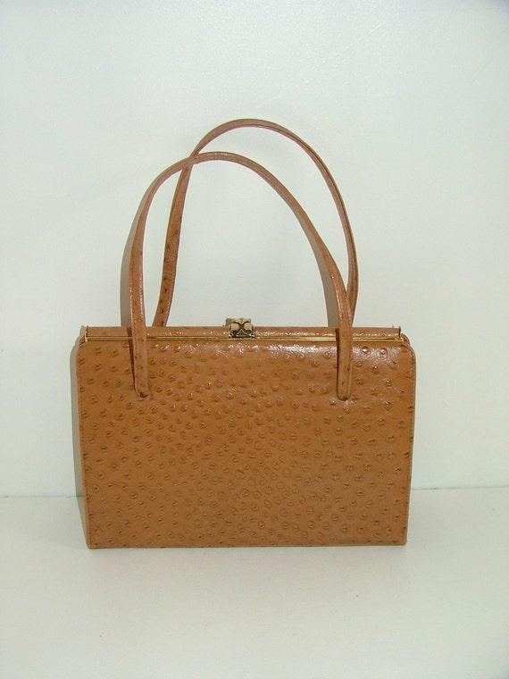 Vintage 50s kelly bag England ostrich skin leather handbag Elbief Exemplar England