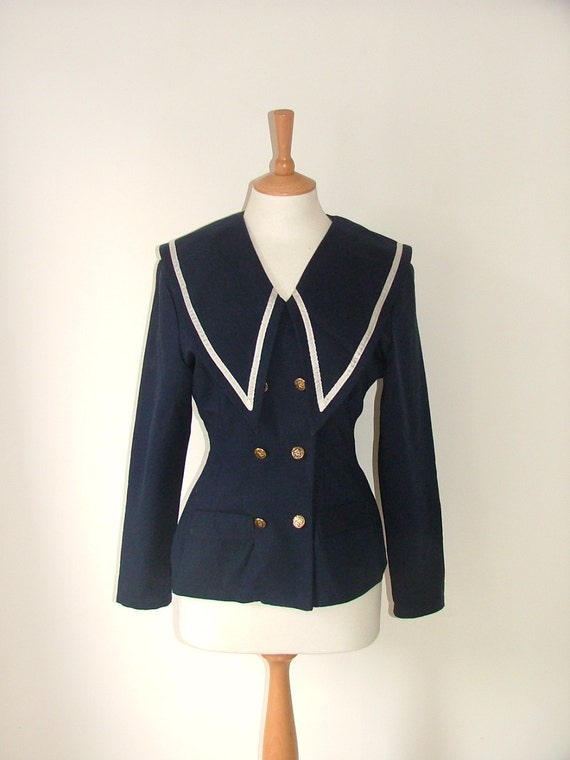 Vintage sailor large nautical collar blazer jacker double breasted size small to medium