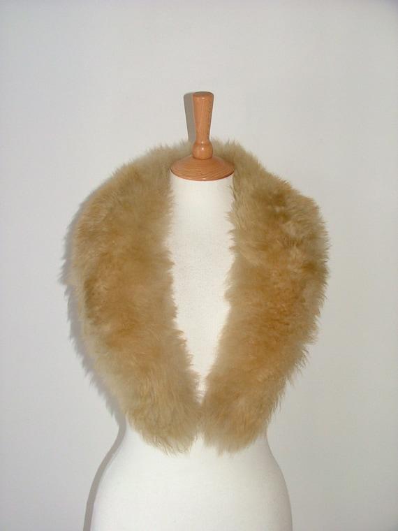 Vintage natural beige curly lamb sheepskin large collar real sheep fur skin