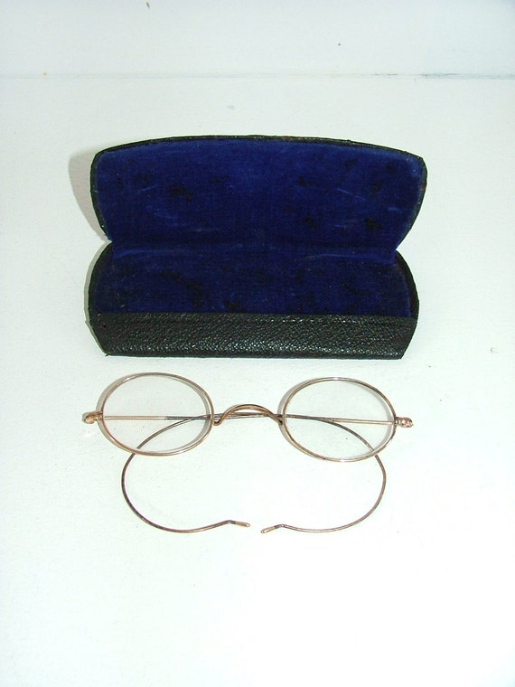 Vintage Spectacles Glasses antique victorian Steampunk with case gold colour