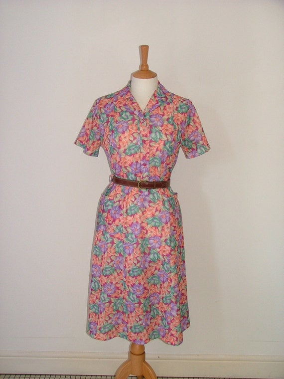 Vintage 70s floral flower pattern pastel shirt tea midi dress size medium UK 12 14