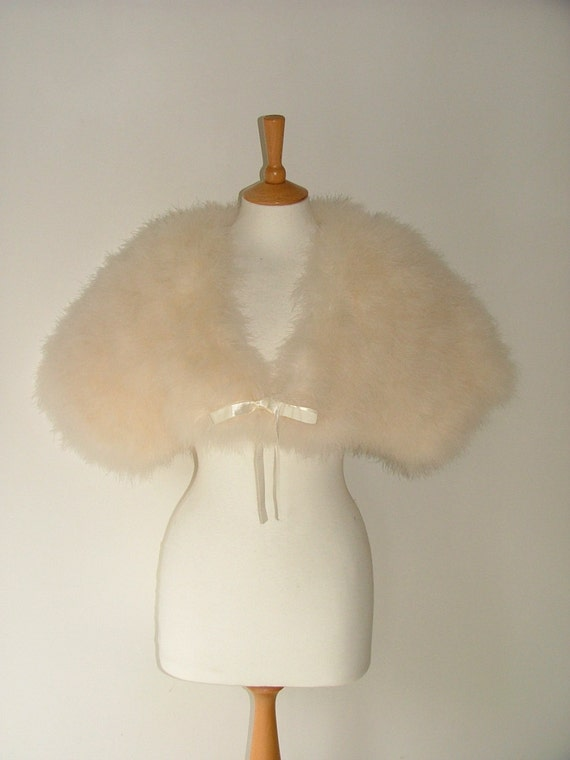 Vintage marabou feather bolero cape shrug jacket ivory champagne cream size small medium wedding hollywood