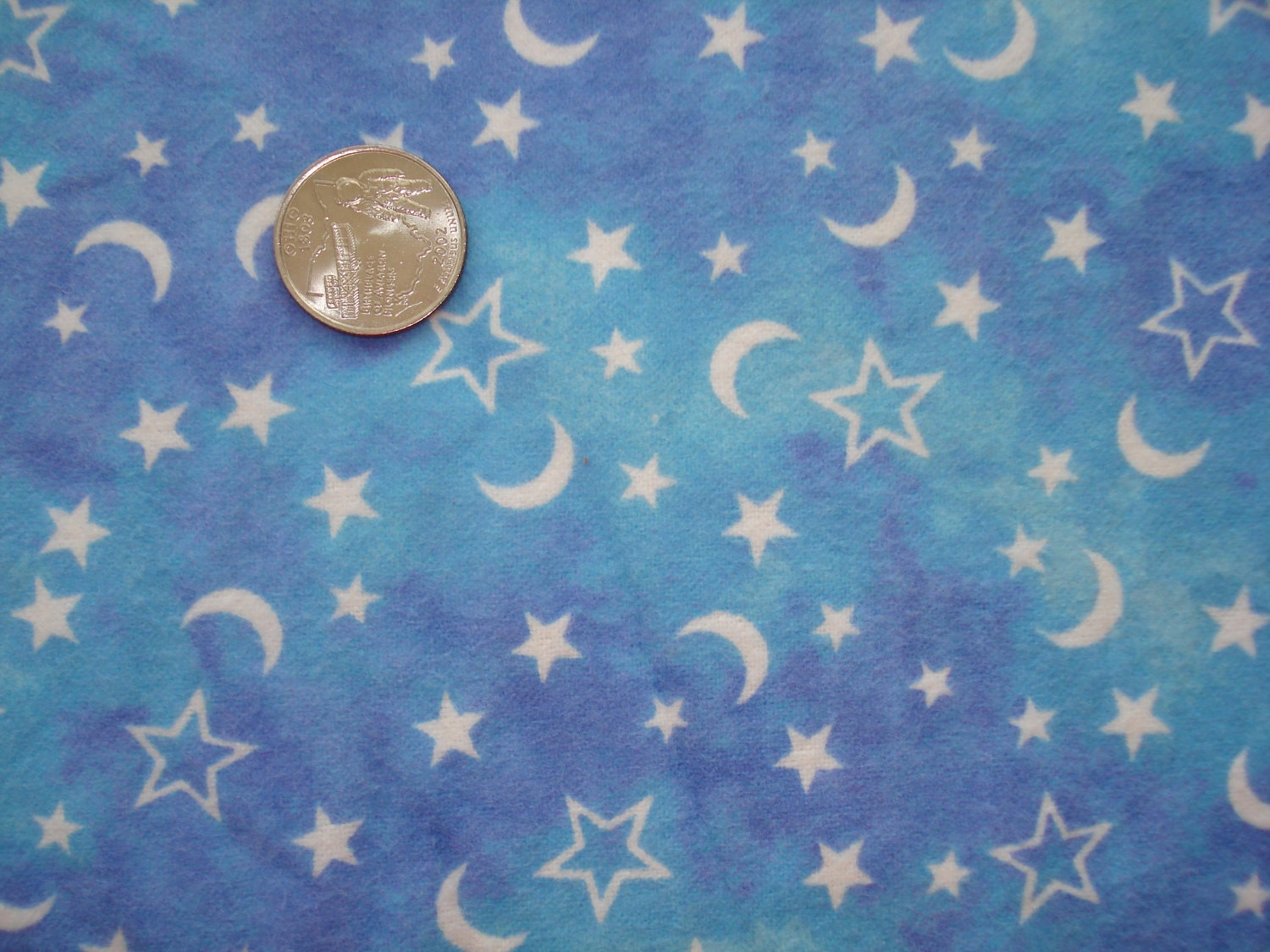 Moon and stars on sky blue cotton flannel fabric 1 yard for Moon and stars fabric