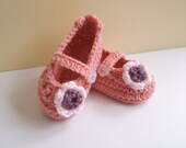 Crochet Baby Shoes Peach Color with Strap & Flower - RESERVED