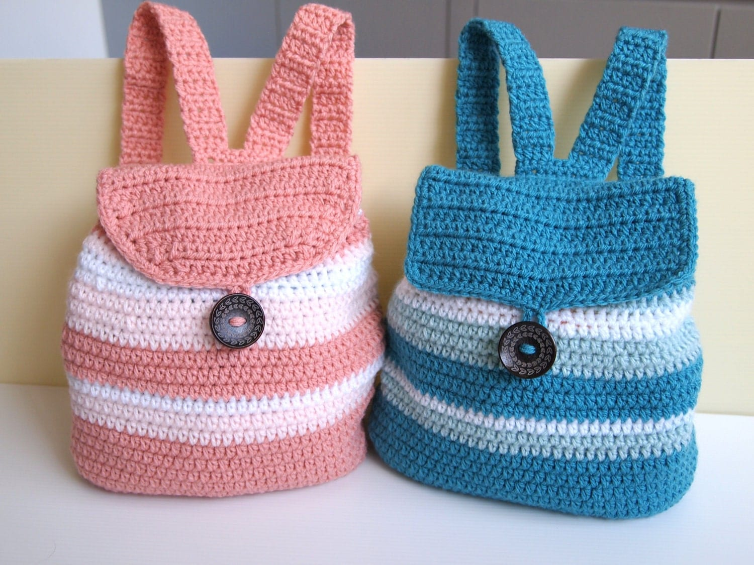 Crochet Back Bag : PDF Crochet Pattern Stripped Backpack for by TheAvaCloset on Etsy