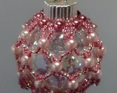 Miniture Pink and Rose Beaded Christmas Ornament