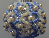 CHRISTMAS SALE - OOAK Country French Blue & Yellow Beaded Victorian Ornanment