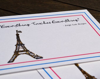 French Flag + Glittered Eiffel Tower, Everything Touches Everything Postcard Set of 5
