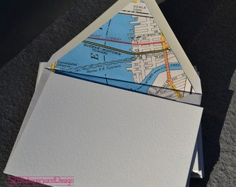 New York City Vintage Map Handlined Envelopes with Blank Note Card Set