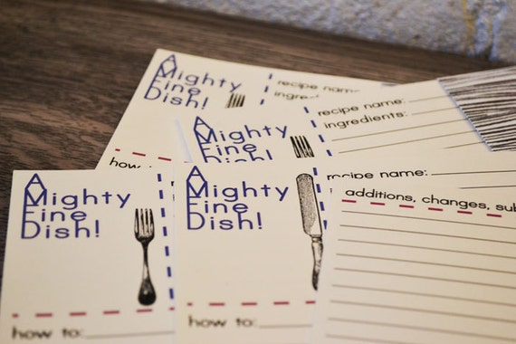 A Mighty Fine Dish Recipe Card Set of 12 on Cream Stock