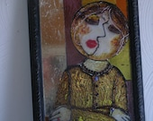 Stained Glass Mosaic: Resting Woman