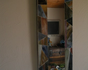 Mosaic Accent Mirror with Earthy Colors