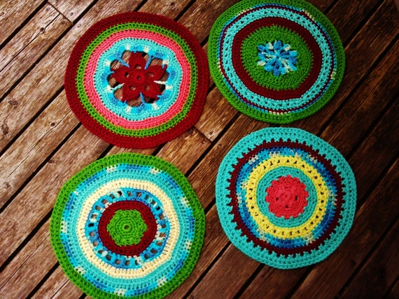 Bold Colors Crocheted Placemat Set of Four- Circles