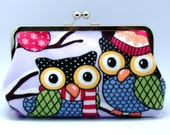 Grand Opening SALE - Big owls - Large Clutch Purse (L-042)