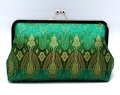 Beautiful pattern on green (Chinese silk brocade) - Large Clutch Purse (L-135)