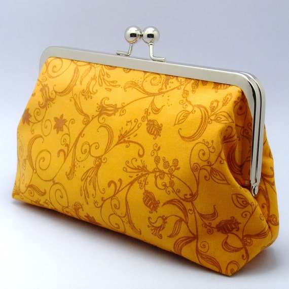 LAST ONE - Floral Pattern on golden yellow - Large Clutch Purse (L-054)