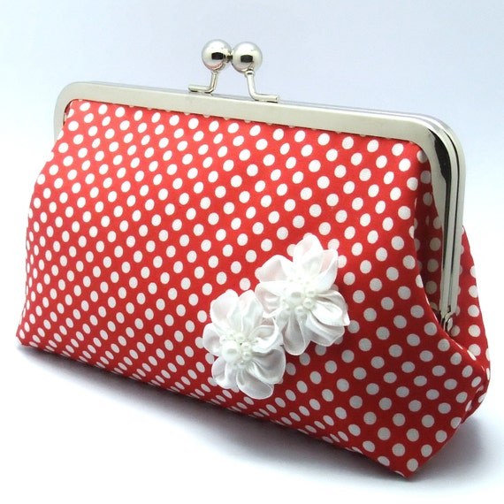 Grand Opening SALE - White Polka Dots in Red with white ribbon flowers - Large Clutch Purse (L-010)