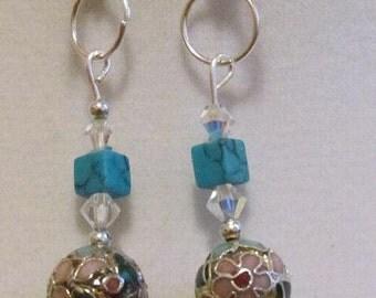 Crystal Cloisonne Earrings