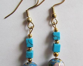 Turquoise Cloisonne Earrings (FREE SHIPPING)