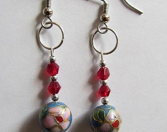 Red Cloisonne Earrings (Free Shipping)