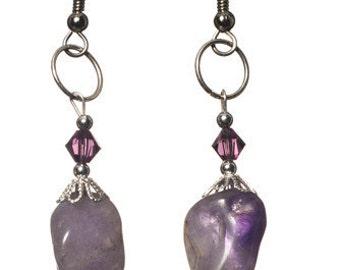 Amethyst & Swarovski Earrings (FREE SHIPPING)