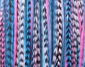Sale 50% COTTON CANDY XL 6 Feather Hair Extension Pink Turquoise Xtra Long and Micro Beads