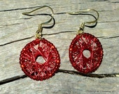 Earrings, POWERFULLY RED, delicately wound, ELEGANT with endlessly woven pentacles glow with subtle power.