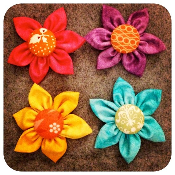 Summer Fabric Flower Set of 4 - Pink, Turquoise, Yellow, Purple - READY TO SHIP