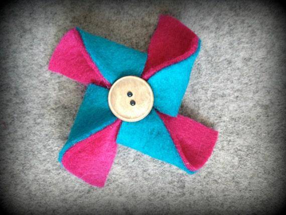 Double-Sided Felt Pinwheel Clip or Headband - Fuschia and Turquoise - READY TO SHIP