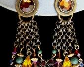 Tribal Bronze & Jewel Long Dangle Clip Earrings signed  Robert Rose
