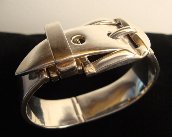 Wide Designer Sterling Bangle Cuff Bracelet by FALLACHI of Italy Buckle Design