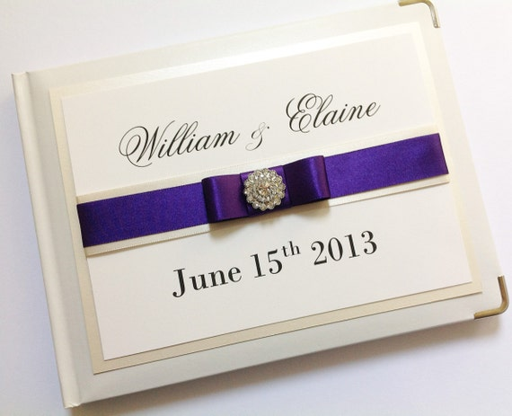 Large Guest Book Personalized - Silver Satin Ribbon Bow with Diamanté