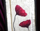 Poppies: Original Painting on Up-Cycled Antique Door Paneling