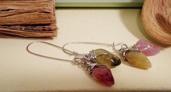 Glass Bead Raindrop Earrings