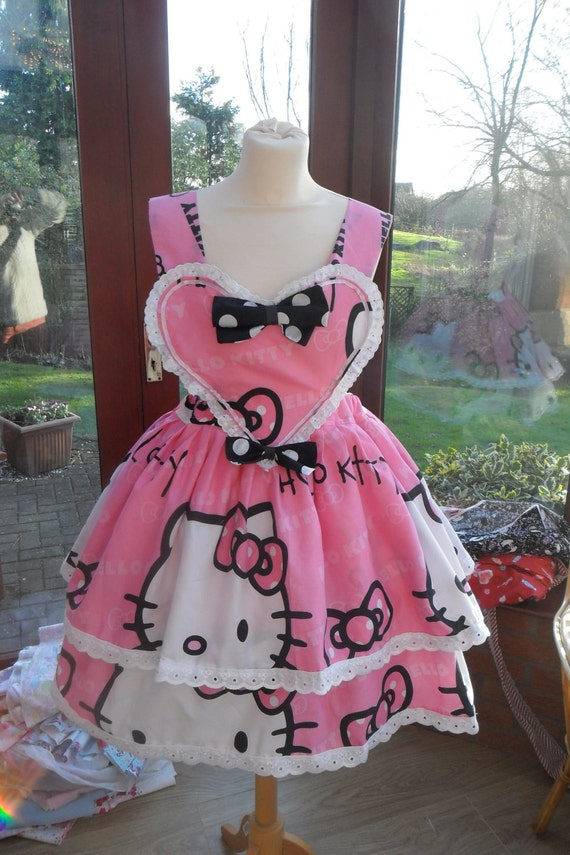 Made to order Hello Kitty Heart Pinafore Size UK 8-12