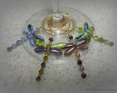 Dragonfly Wine Glass Charms-four