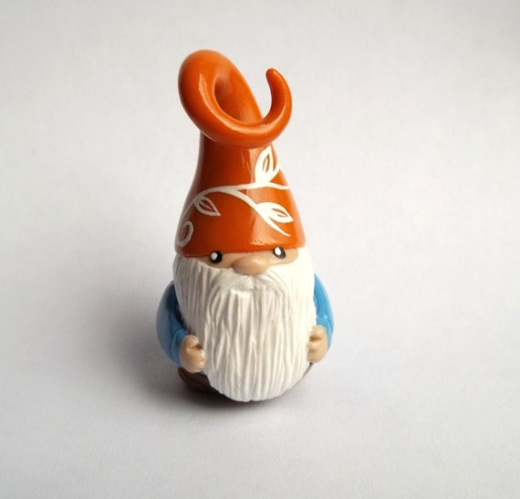 Mini Garden Gnome- with pumpkin hat for planter, terrarium, shelf, or window sill