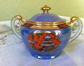 Noritake Nippon Sugar Bowl Japan Lusterware Handpainted Pagoda Cherry Blossom 1920s Vintage