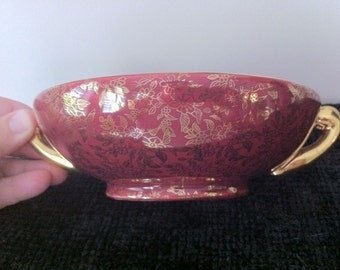 Red Ceramic Candy Dish Bowl with Gilded Handles and Flowers Vintage
