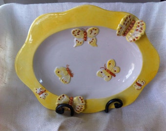 Meiselman Imports Pottery Dish Tray Yellow Raised Handpainted Butterfly Butterflies Art Vintage 1960's