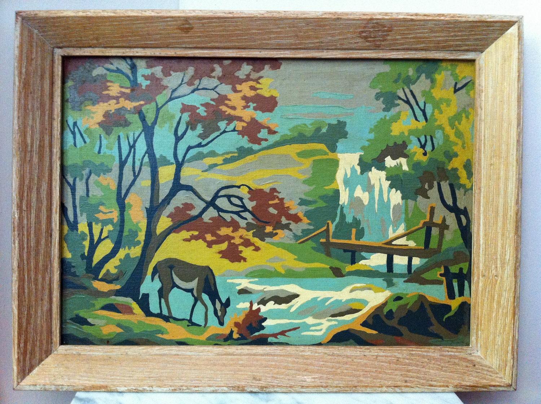 Vintage Paint By Numbers Deer Nature Waterfall Framed Painting