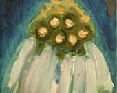 Cone Flower Study 1 - Pretty water-color like depiction of a cone flower. elegant blues, golds, oranges, and off-white.