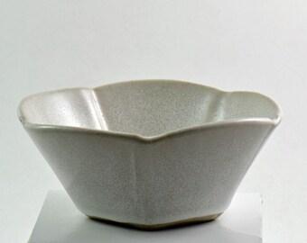 Five Sided Bowl Handbuilt Stoneware Buttermilk Glaze