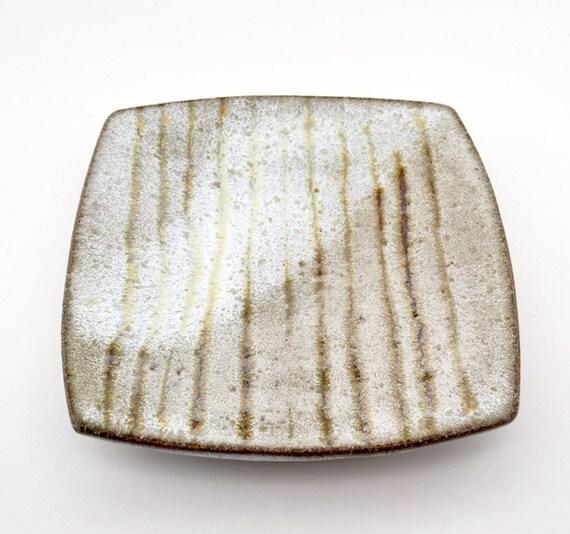 Stoneware Square Plate Buttermilk Glaze