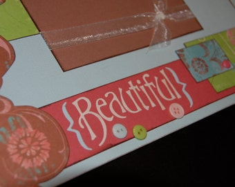 beautiful 12x12 Two-page Layout Pre-cut Scrapbook KIT - spring, girl, wedding, baby, love