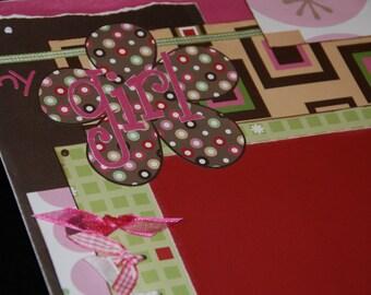 my girl  12x12 Two-Page Layout Pre-cut Scrapbook KIT - pink, flowers, sweet, feminine