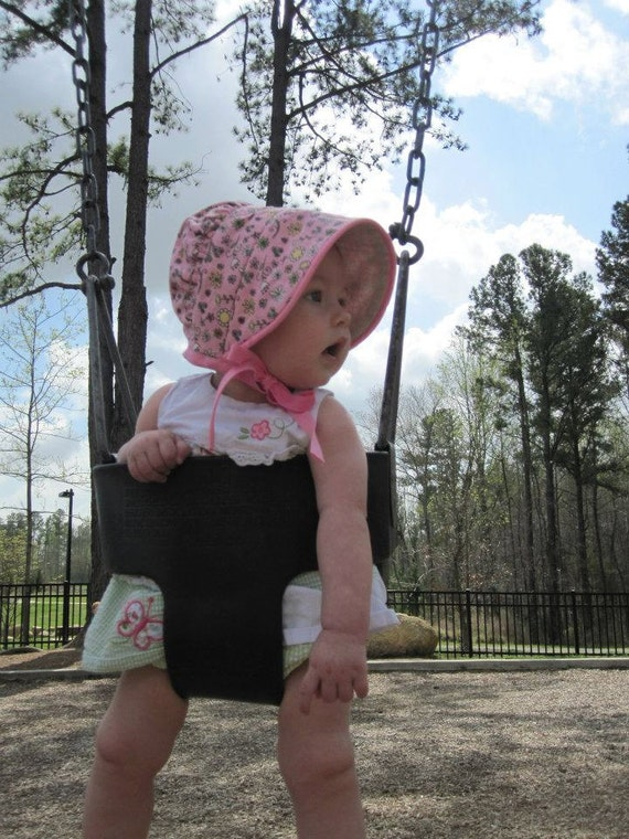 Peekaboo Bonnet sun hat for girl baby, toddler, or child - it's even reversible :)